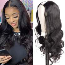 UNice Hair 10A Body Wave U Part Wig Human Hair for Women Brazilian Remy Human Hair Glueless Full Head Clip in Half Wig U Shape Wig 150% Density Natural Color (24inch)