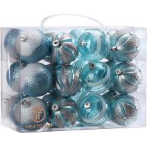 """Sea Team 60mm/2.36"""" Decorative Shatterproof Painting & Glittering Designs Christmas Ball Ornaments Set with Embossed Finish Surface, 24-Pack, Babyblue"""