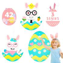 WATINC Easter DIY Felt Bunny Egg Set with 3 Style Modes 42 Detachable Ornaments, Wall Hanging Easter Decoration, Hanging DIY Felt Craft Kit Set for Easter Party, Indoor Game for Kids Toddlers Family