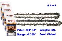 "18 Inch Chainsaw 3/8"" LP Pitch 0.050'' Gauge Semi Chisel Sawchain 62 Drive Links Fits Husqvarna Stihl Echo Poulan Pro 91PX62G 63PM3 62 (4 PACK)"