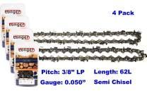 "18 Inch Chainsaw 3/8"" LP Pitch 0.050'' Gauge Semi Chisel Sawchain 62 Drive Links Fits Husqvarna Stihl Echo Poulan Pro 91PX62G 63PM3 62 (4 PACK)"