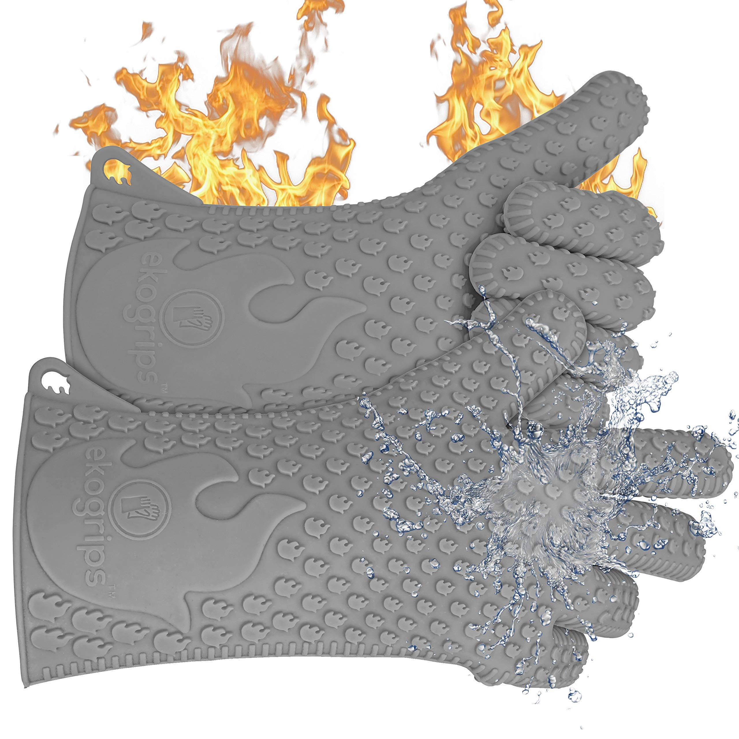 Jolly Green Products Ekogrips Premium BBQ Oven Gloves | Best Versatile Heat Resistant Grill Gloves | Insulated Silicone Oven Mitts for Grilling | Waterproof | Forearm Protection | Grey, L/XL