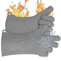Jolly Green Products Ekogrips Premium BBQ Oven Gloves | Best Versatile Heat Resistant Grill Gloves | Insulated Silicone Oven Mitts for Grilling | Waterproof | Forearm Protection | Grey, XXL