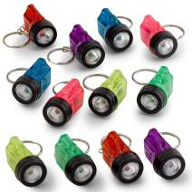 Kicko Mini Flashlight Keychains 1.5 Inch - 12 Pack Assorted Neon Colors – Small Key Ring Light for Bag and Belt Loop Accessory, Party Gifts and Events