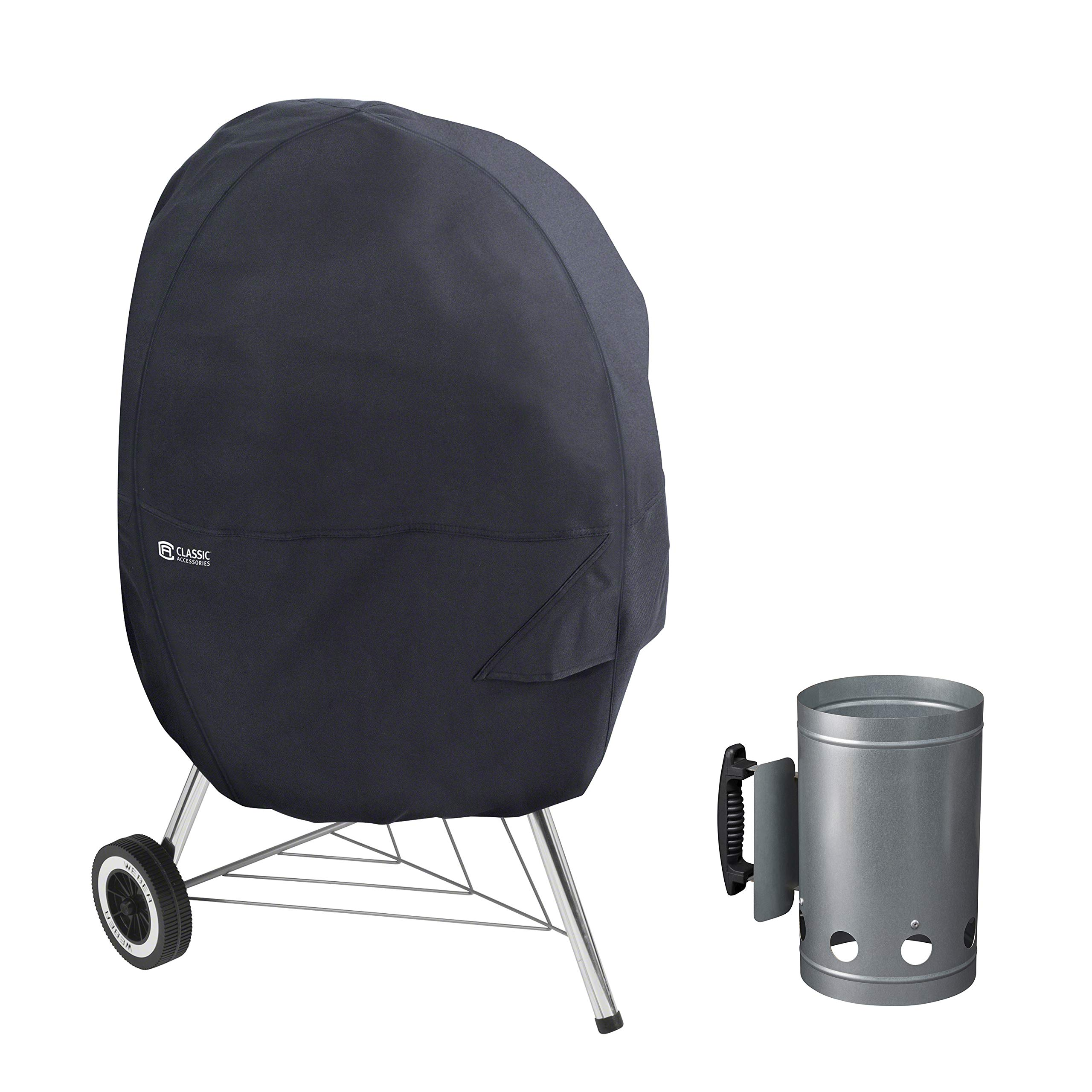 Classic Accessories Water-Resistant 30 Inch Kettle BBQ Grill Cover with Charcoal Chimney