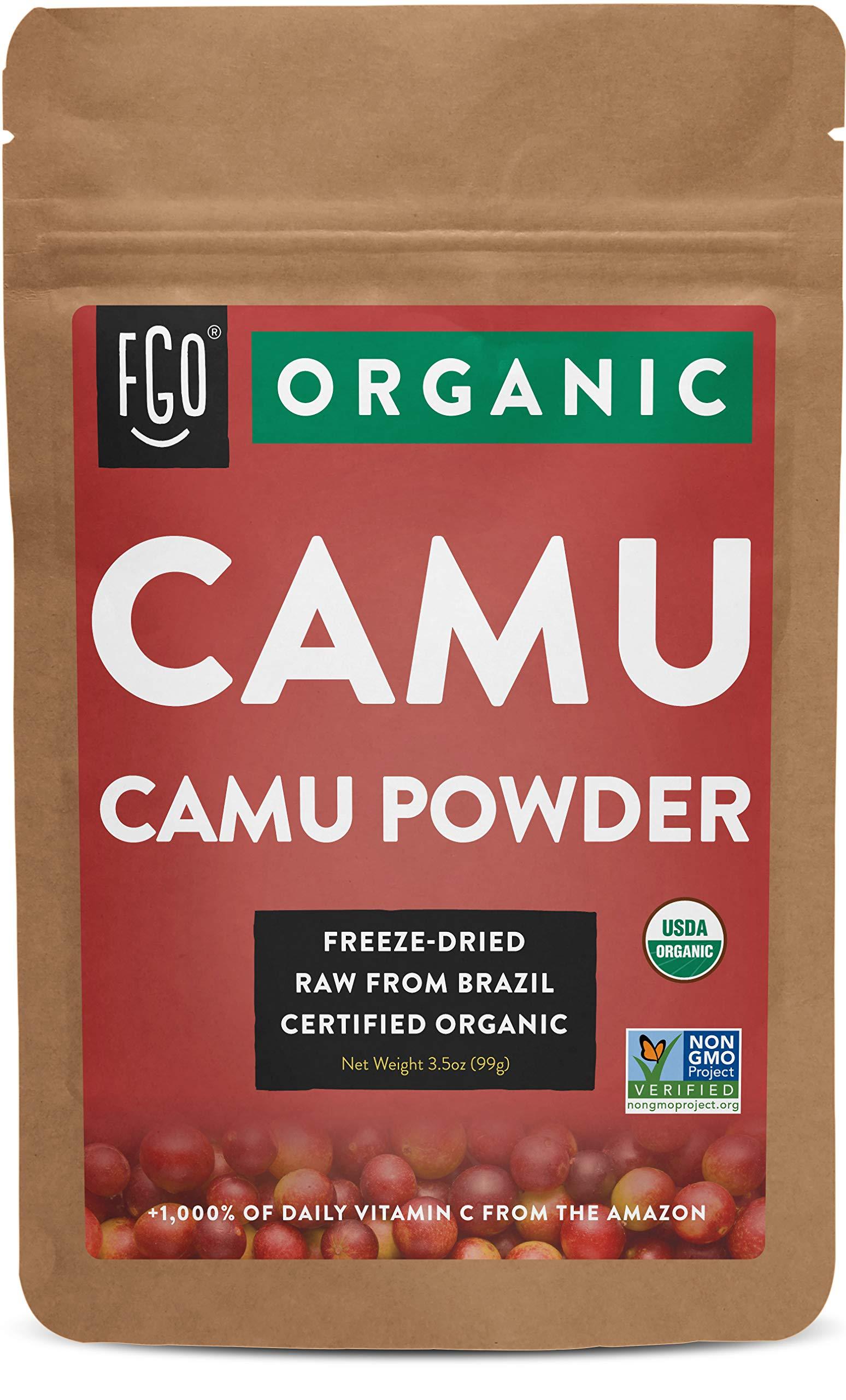 FGO Organic Freeze-Dried Camu Powder | 3.5oz Resealable Kraft Bag | 100% Raw from Brazil