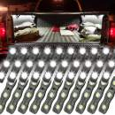 Ampper White LED Rock Light for Bed Track, 60 LEDs Cargo Pickup Truck Bed Lighting Kit W/Switch Fuse for Truck Bed, Foot Wells, Under Car, Rail Light and More (20 Pcs)