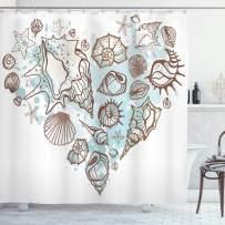 "Ambesonne Nautical Shower Curtain, Hand Drawn Seashells Scallop Starfish Whelk Ocean Underwater Life Theme, Cloth Fabric Bathroom Decor Set with Hooks, 70"" Long, Brown Taupe"