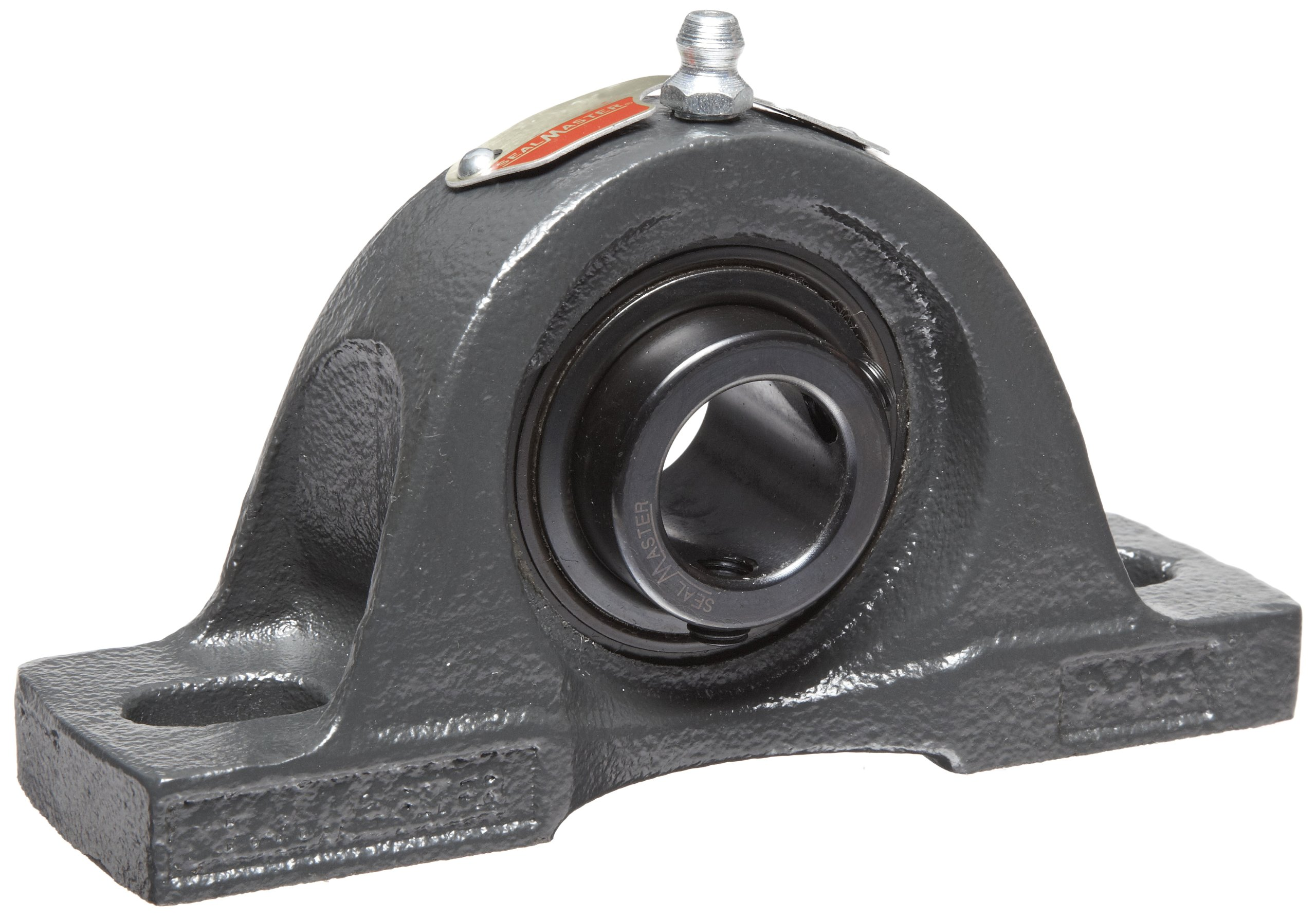 """Sealmaster NP-204 Pillow Block Ball Bearing, Non-Expansion Type, Normal-Duty, Regreasable, Setscrew Locking Collar, Felt Seals, Cast Iron Housing, 20mm Bore, 1-5/16"""" Base to Center Height, 3-3/4"""" Bolt Hole Spacing Width"""