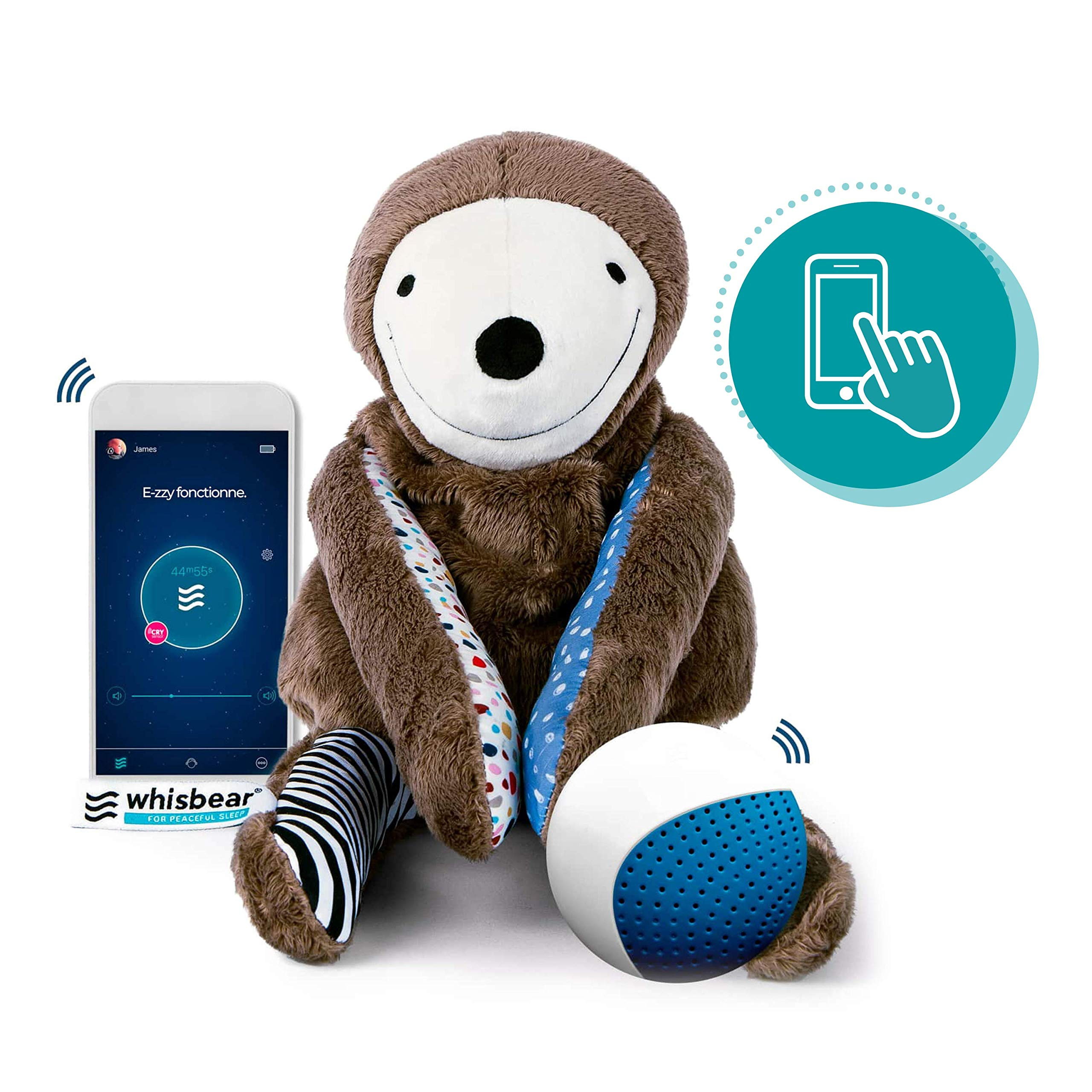 Whisbear E-zzy The Sloth, app Operated Soothing Toy, Baby Sleep Monitor, Parents' Assistant, Helps Babies Fall Asleep with a Calming Sound, reacts to Babies' Crying, Safe Sensory Toy