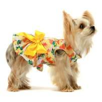 Fitwarm Lemon Summer Dog Dress Puppy Clothes Doggie Sundress Pet Vest Cat Apparel Water Blue