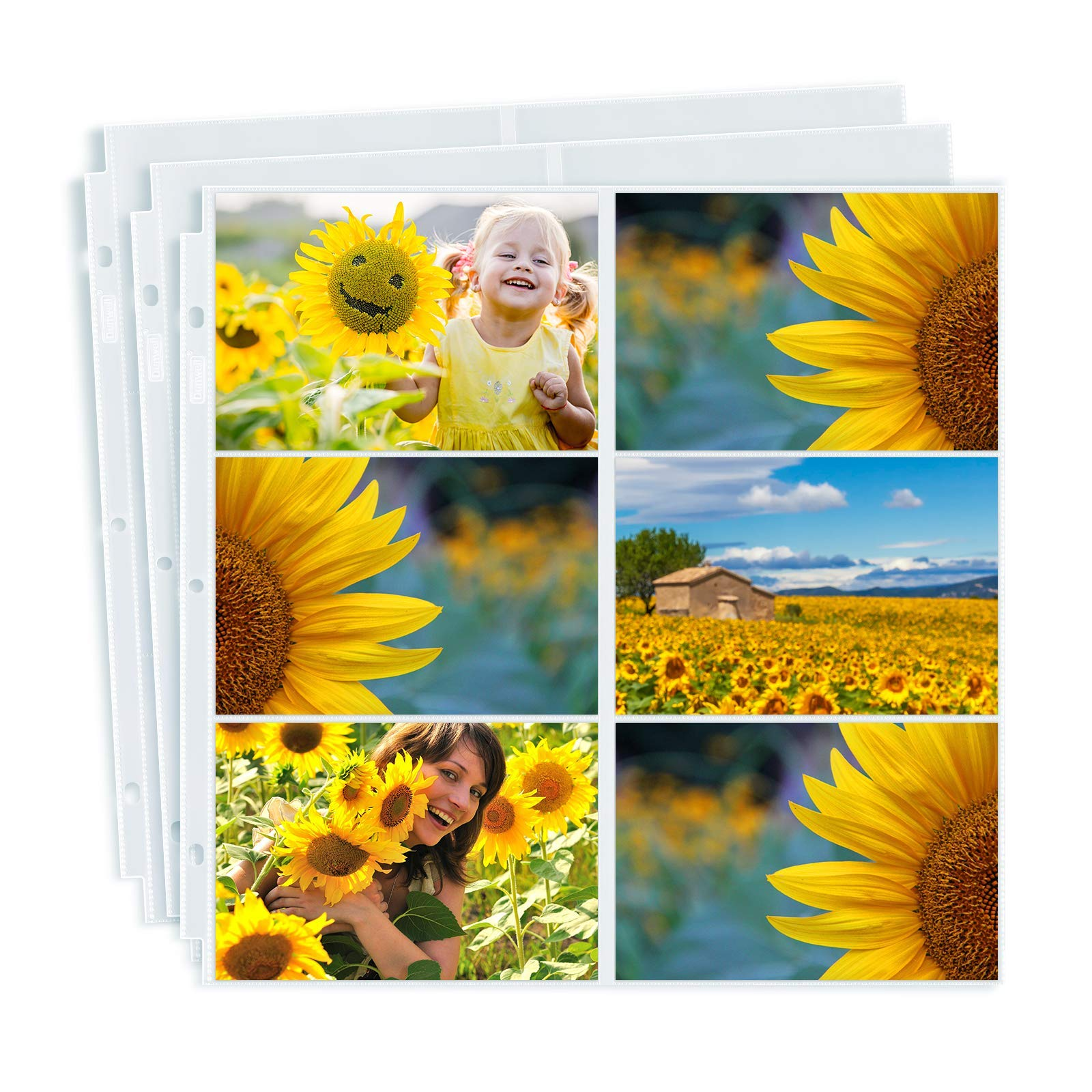 Dunwell Photo Album Refill Pages 12x12 - (4x6 Landscape, 50 Pack) Holds 600 4x6 Photos, 4x6 Photo Sleeves for 3 Ring Binder, Post Bound Scrapbook Album 12x12, Archival Quality Page Protectors 12x12