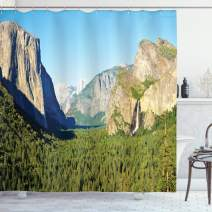 "Ambesonne Yosemite Shower Curtain, El Capitan Half Dome and Bridalveil Falls Tourist Attraction Landscape Image Print, Cloth Fabric Bathroom Decor Set with Hooks, 75"" Long, Green Blue"