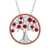 BriLove Women's 925 Sterling Silver CZ Tree of Life Birthstone Pendant Necklace