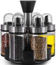 Nicunom Set of 6 Olive Oil Dispenser and Vinegar Bottles, Glass Condiment Set with 360° Rotating Holder Olive Oil Cruet Bottle Salt and Pepper Shakers Bottles for Home Kitchen Sauce Spice, 3.4 Oz
