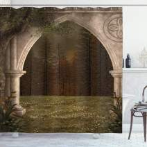 """Ambesonne Gothic Shower Curtain, Old Retro Arch in The Garden Renaissance Meadow Forest Dark Scary Design Image, Cloth Fabric Bathroom Decor Set with Hooks, 75"""" Long, Green Beige"""