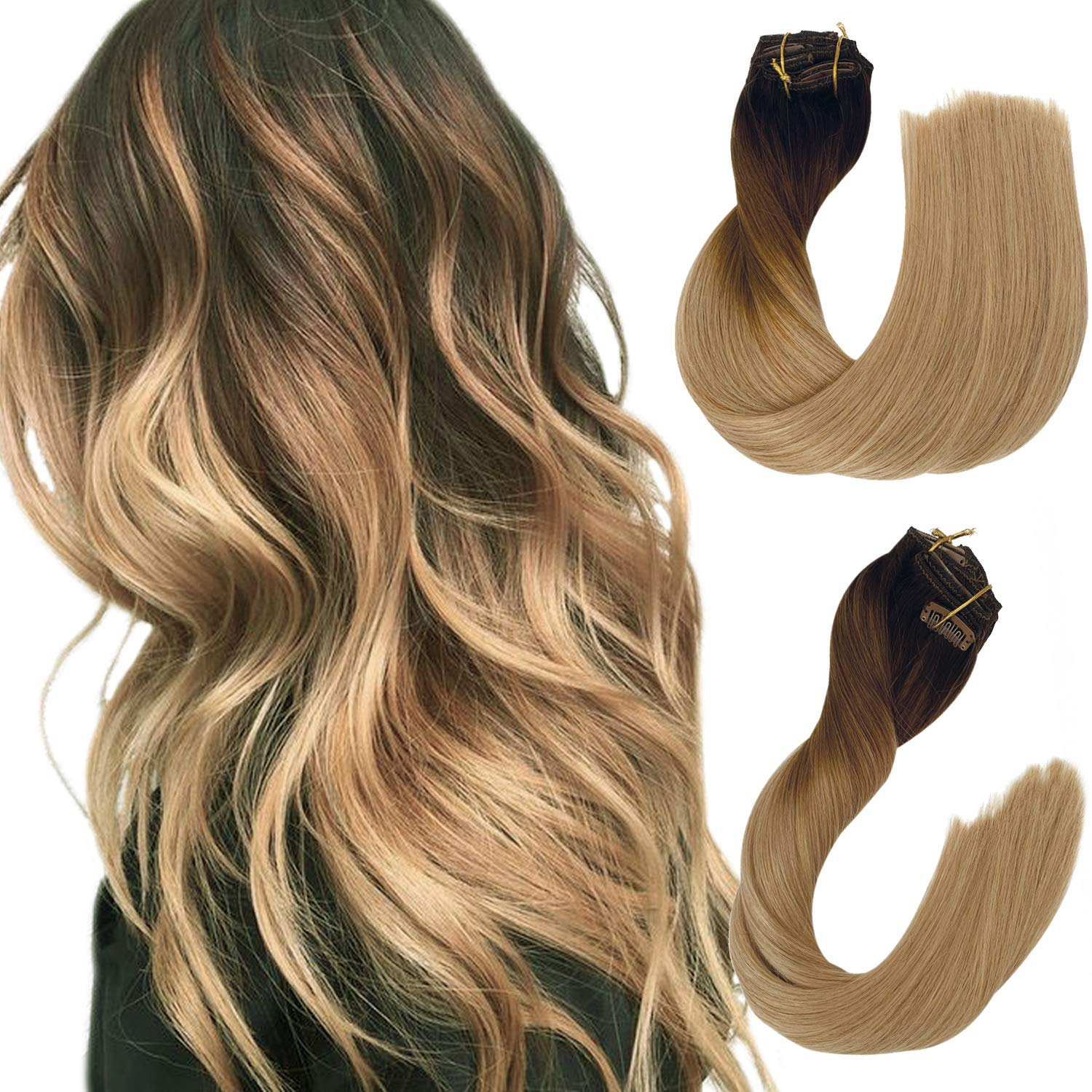 Remy Clip in Human Hair Extensions Dark Brown to Chestnut Brown and Ash Brown Ombre Clip in Real Hair Extensions Double Weft Straight Clip in Extensions for Women 18 Inch 140G 8 Pcs
