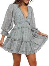 Bdcoco Womens Long Sleeve Floral Print Mini Dress V Neck Backless Swing Short Dress