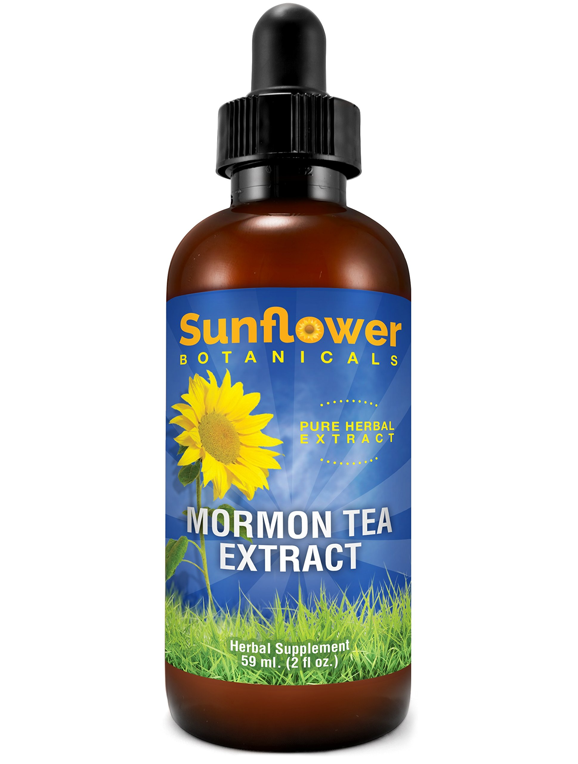 Sunflower Botanicals Mormon (Brigham) Tea Extract, 2 oz. Glass Dropper-Top Bottle, Vegan, Non-GMO and All-Natural, Optimally Concentrated