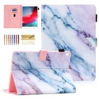 """Dteck Flip Case for iPad Air 10.5-inch 2019 & iPad Pro 10.5"""" 2017 - Soft TPU Back Cover Protective Smart Leather Shockproof Case with Adjustable Stand/Pencil Holder/Auto Wake Sleep (Pink Marble)"""