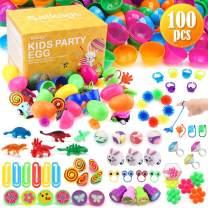 Satkago Filled Easter Eggs, 100Pcs Prefilled Easter Eggs Easter Basket Stuffers for Toddlers Easter Gifts Bulk for Kids