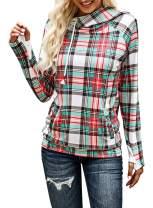 Paitluc Women Crewneck Plaid Pullover Hoodies Casual Long Sleeve Tunic Sweatshirts S-XXL