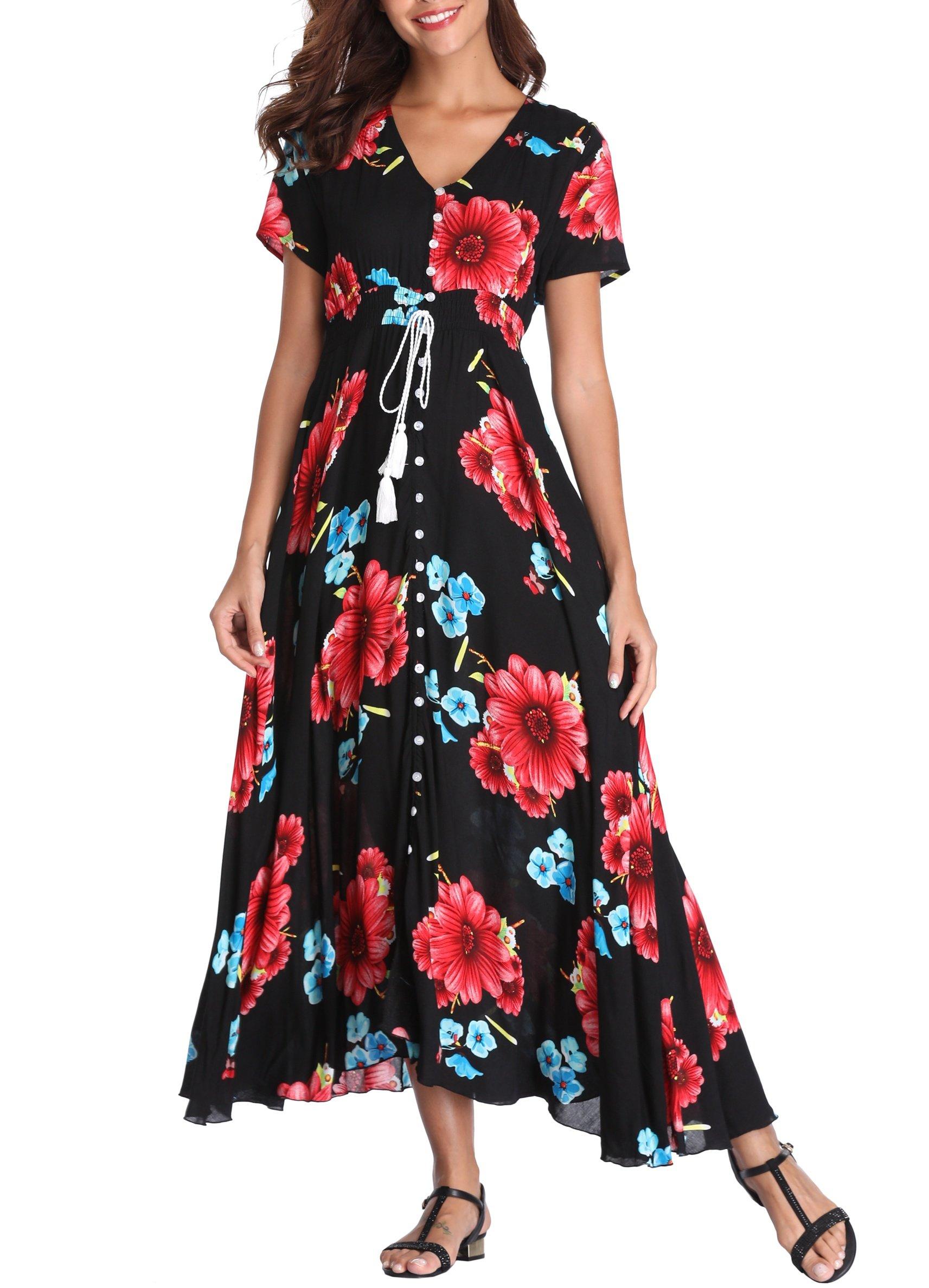 VintageClothing Women's Floral Print Maxi Dresses Boho Button Up Split Beach Party Dress, Black&Red Flower, L