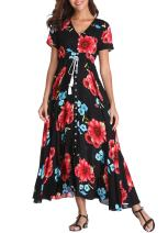 VintageClothing Women's Floral Print Maxi Dresses Boho Button Up Split Beach Party Dress, Black&Red Flower, L