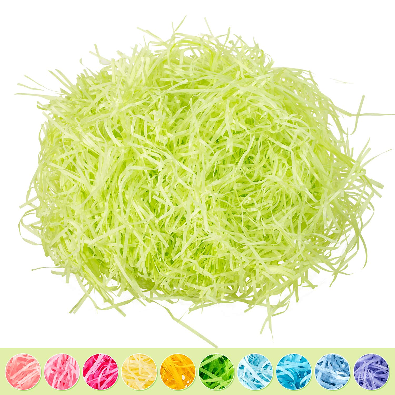 Whaline Easter Basket Grass Craft Shredded Tissue Raffia Gift Filler Paper Shreds for Baskets Egg Stuffers for Spring Party Supplies Accessories Decorations (Light Green)