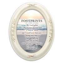 Cottage Garden Footprints in The Sand Distressed Ivory Floral 5 x 7 Oval Table and Wall Photo Frame
