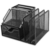 """Plemo Mesh Desk Organizer Office Supplies Caddy with 6 Compartments: Drawer, Pen Holder, Memo Holder & File Holder, 6.42"""" x 4.13"""" x 5.71"""""""