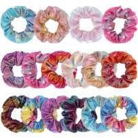 CUBACO 16 Pack Shiny Metallic Scrunchies Dazzling Rainbow Hair Scrunchies Elastic Hair Bands Scrunchy Gradient Mermaid Colors Hair Ties Ropes for Women or Girls Hair Accessories,8 Colors