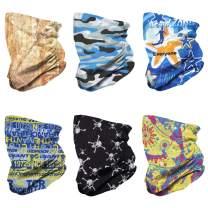 Daoveroa Face Mask Multi-functional Bandanas Unisex Seamless Scarf For Dust/Outdoors/Festivals/Sports 6-Pack