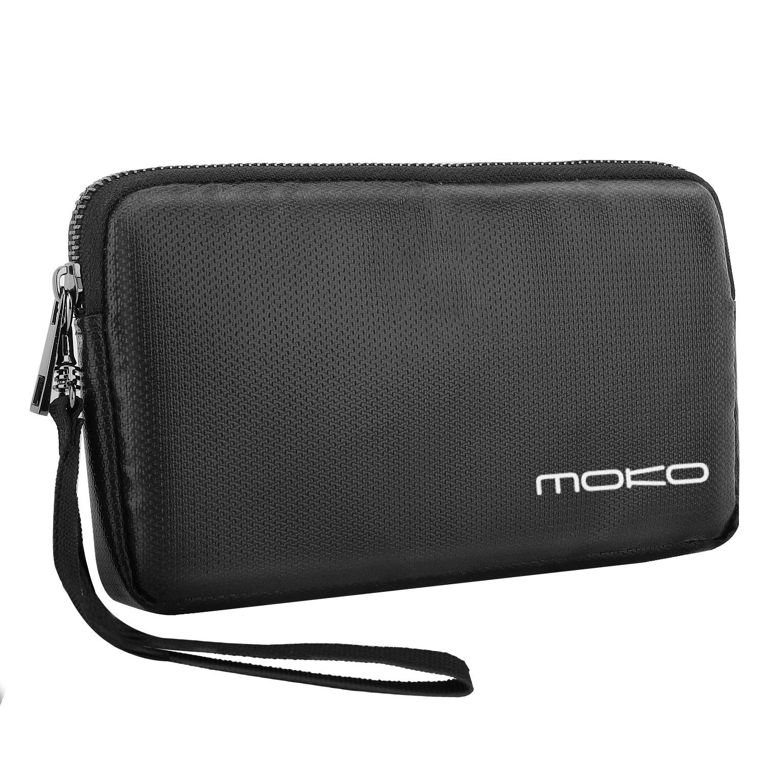MoKo Power Bank Carrying Bag, Zipper Fire Resistant Electronic Accessories Storage Case, Portable Fireproof Hard Drive Pouch USB Cable Travel Gear - Black