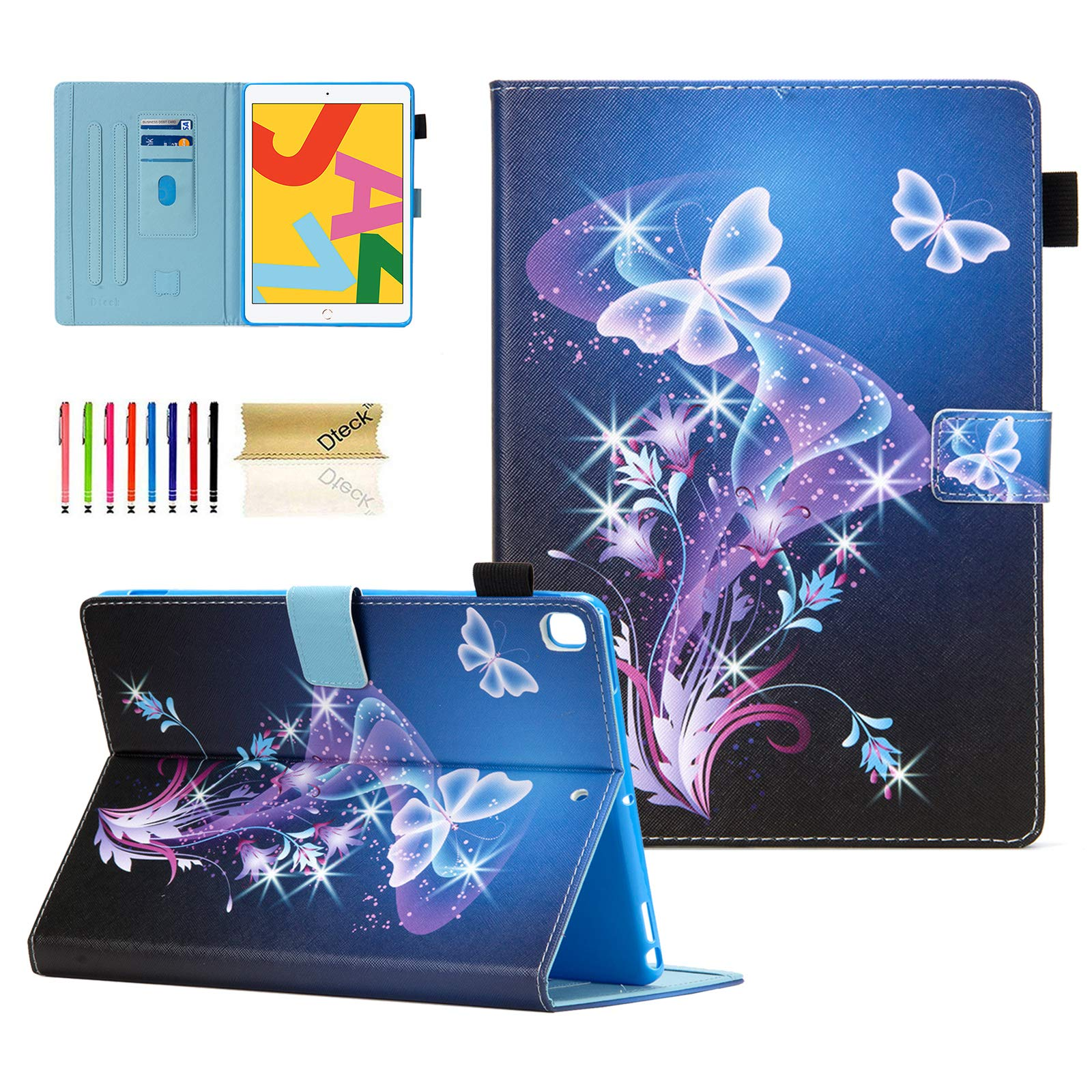 Dteck Case for iPad 10.2 2019 7th Generation - Slim Fit Premium PU Leather Folding Stand Smart Shockproof Cover with Pencil Holder, Auto Wake/Sleep, Wallet Pocket, Purple Butterfly