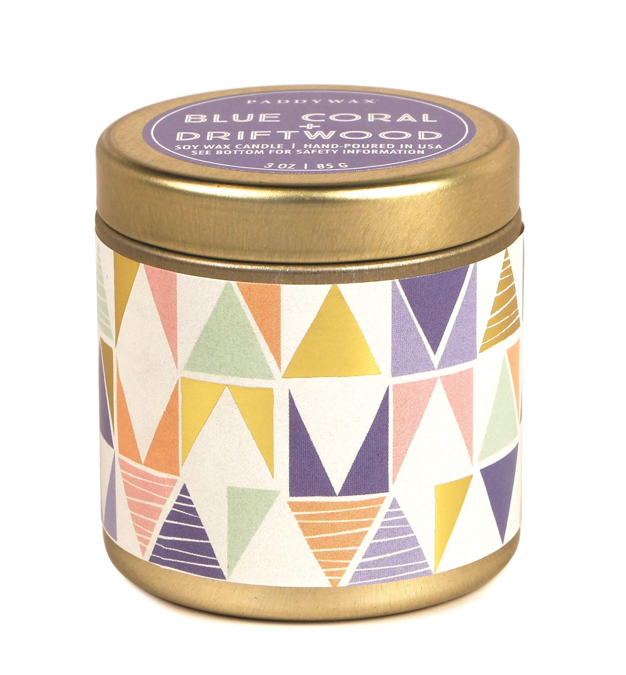 Paddywax Candles Kaleidoscope Collection Travel Tin Candle, Coral & Driftwood, 1 EA, Blue Coral and Driftwood