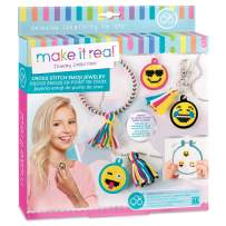 Make It Real - Cross Stitch Emoji Jewelry. DIY Embroidery Emoji Pendant Making Kit for Girls. Arts and Crafts Kit to Design and Create Trendy Emoji Pendants for a Ball Chain Necklace or Key Ring