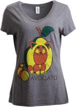 Avogato | Funny Cute Avocado Cat Joke Arigato Graphic V-Neck T-Shirt for Women