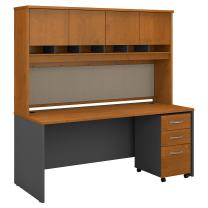 Bush Business Furniture Series C 72W x 30D Office Desk with Hutch and Mobile File Cabinet in Natural Cherry