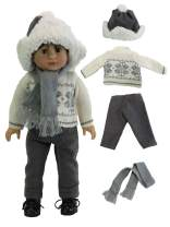 American Fashion World Boy's Gray Winter Sweater 4 pc Set Made for 18 inch Dolls Such as American Girl Dolls