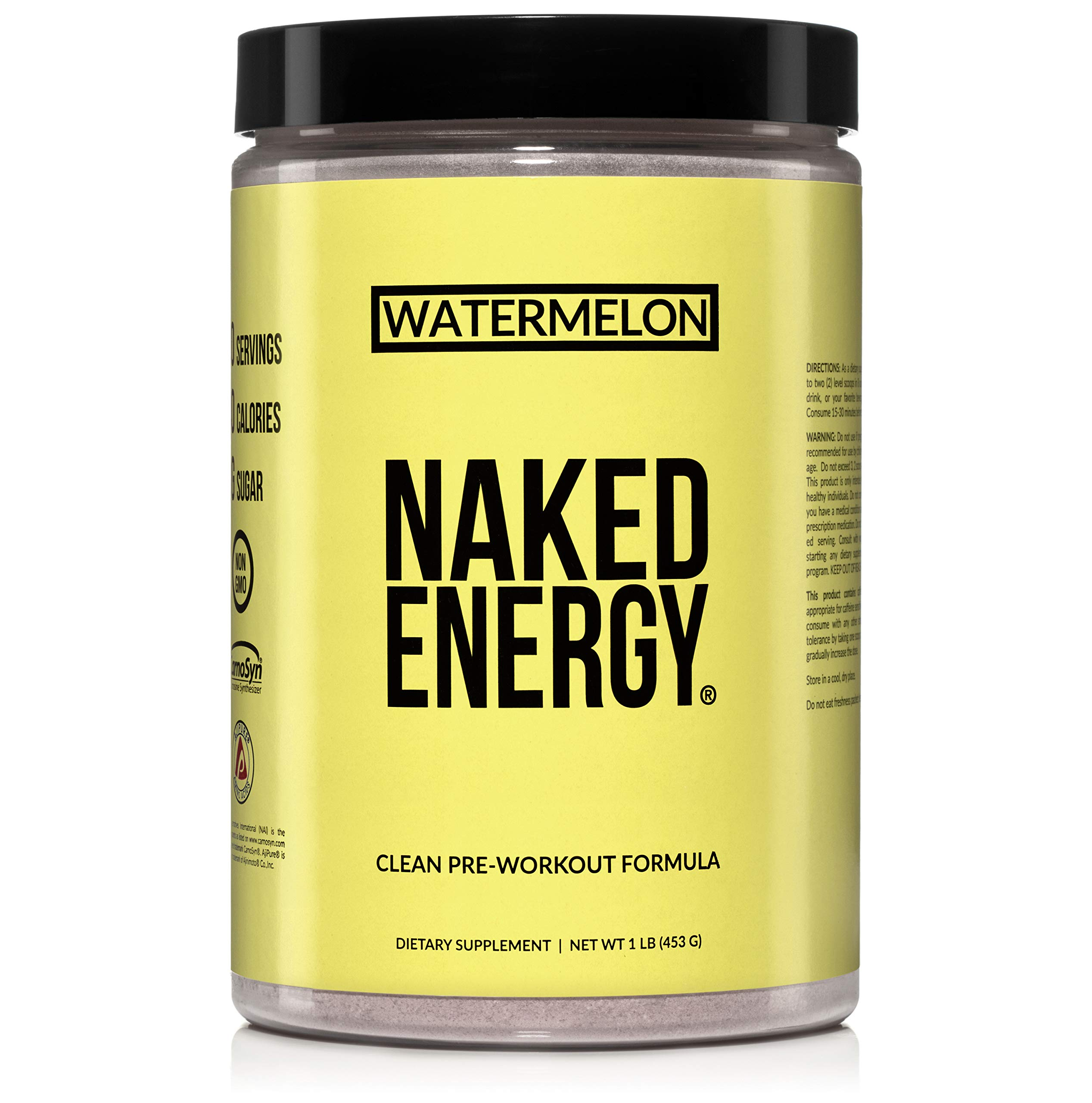 Watermelon Naked Energy – All Natural Watermelon Pre Workout Supplement for Men and Women, Vegan Friendly, No Added Sweeteners, Colors or Flavors – 30 Servings