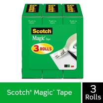 Scotch Brand Magic Tape, 3 Refill Rolls, Invisible, Cuts Cleanly, Engineered for Office and Home Use, 1/2 x 1296 Inches, Boxed (810H3),Transparent