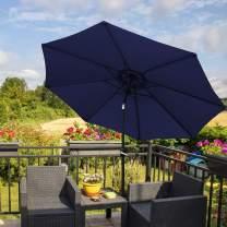 AXT SHADE 9 ft Patio Umbrella Outdoor Table Market Backyard Garden Umbrella with Push Button Tilt and Crank, 8 Ribs, Navy Blue