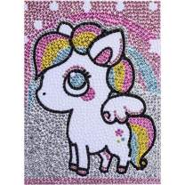 Diamond Painting for Kids Full Drill Painting by Number Kits Rhinestone Mosaic Making for Home Wall Decor and Christmas Gifts (Unicorn Pony)