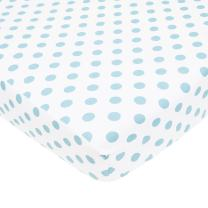 American Baby Company 100% Natural Cotton Percale Fitted Crib Sheet for Standard Crib and Toddler Mattresses, White with Blue Dot, Soft Breathable, for Boys and Girls