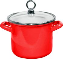 Calypso Basics by Reston Lloyd Enamel on Steel Stockpot with Glass Lid, 2.5-Quart, Red