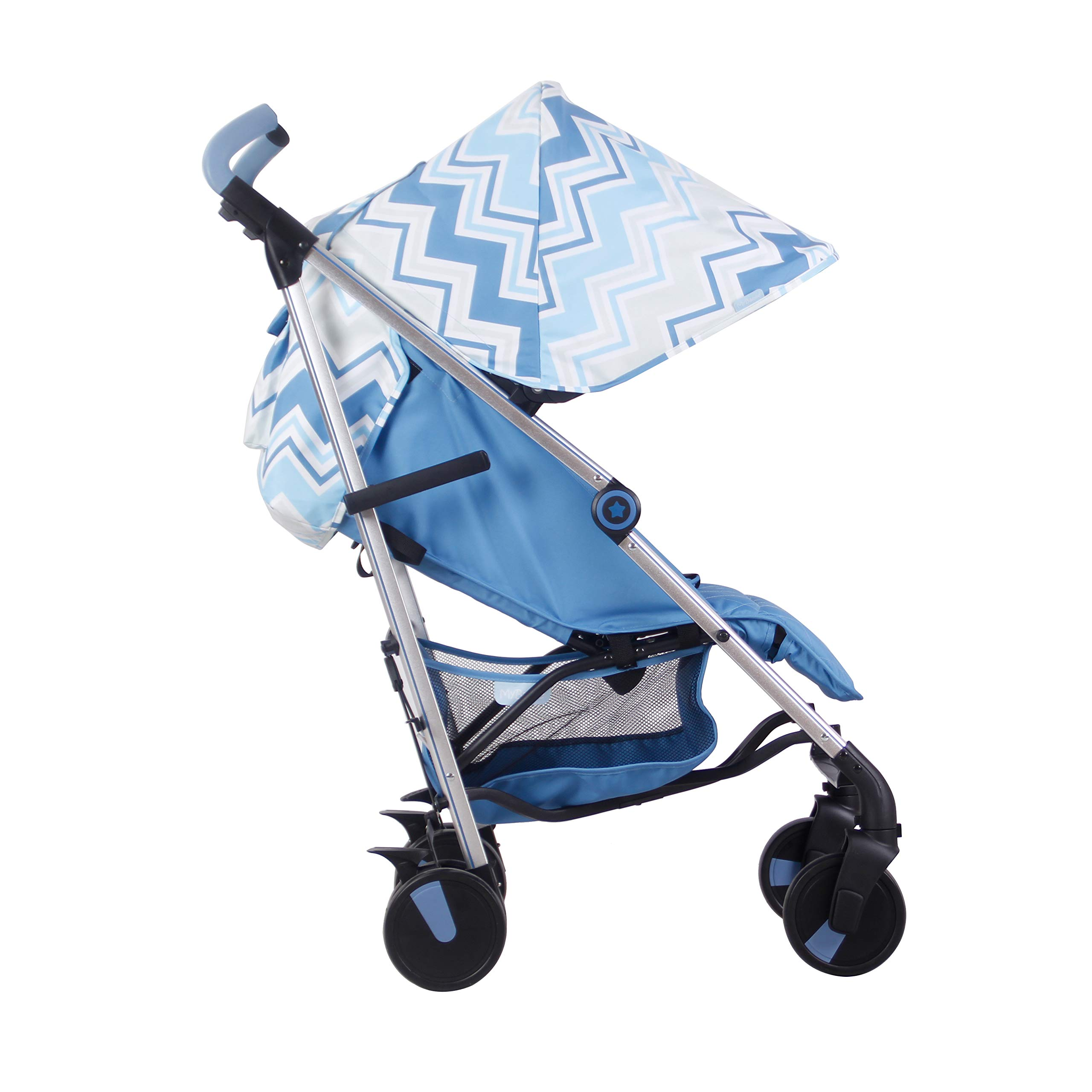 My Babiie US51 Dreamiie Blue Chevron Baby Stroller – Lightweight Baby Stroller with Carry Handle – Silver Frame and Blue Chevron – Lightweight Travel Stroller – Suitable from Birth – 33 lbs