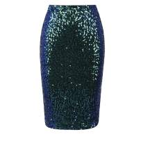 Women's Sequin Skirt Midi High Waist Bodycon Sparkle Pencil Skirt Party Cocktail