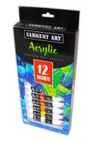 Sargent Art 23-0501, Acrylic Tube Paint, 12ml, 12 Colors, Use with Canvas, Wood, Craft Projects, Perfect for Beginning Artists to Students and Professionals