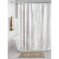 """iDesign Abstract Fabric Bathroom Shower Curtain - 72"""" x 72"""", Taupe/White"""